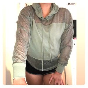 PINK Mesh Netted Olive Sweater - Size XS